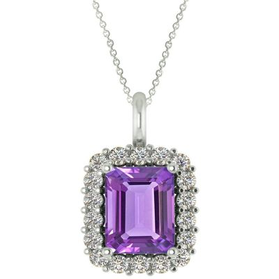 14k Amethyst and Diamond Pendant