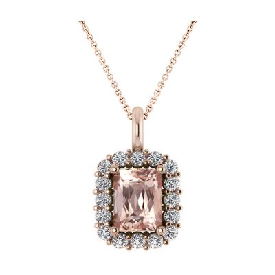 14k Morganite and Diamond Pendant