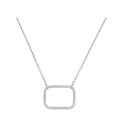 14k Diamond Rounded Rectangle Necklace