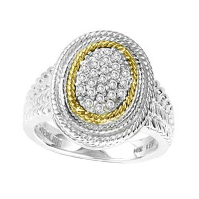 14k Gold & Sterling Silver Diamond Ring