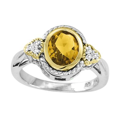 14k Gold & Sterling Silver Citrine Ring