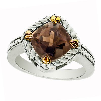 14k Gold & Sterling Silver Smokey Quartz Ring
