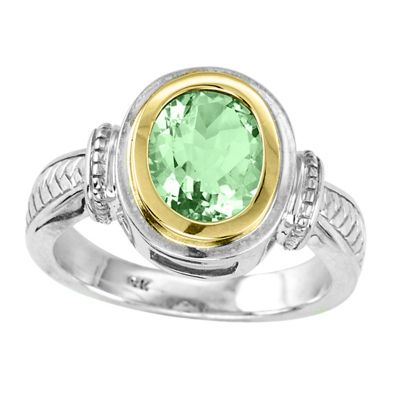 14k Gold & Sterling Silver Green Amethyst Ring