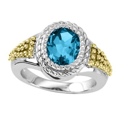 Blue Topaz Sterling Silver and 14k Ring