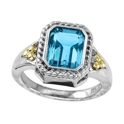 Sterling Silver and 14k Blue topaz Ring