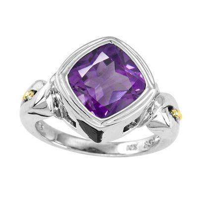 Sterling Silver and 14k Gold Amethyst Ring