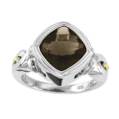 Sterling Silver and 14k Gold Smokey Quartz Ring