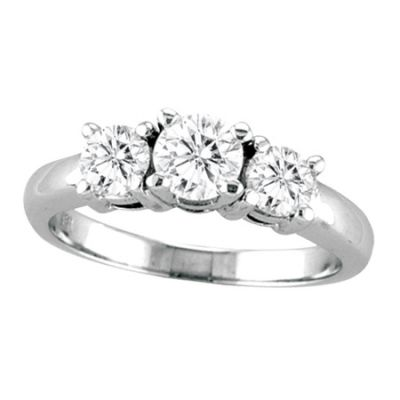14k .75ctw Diamond 3 Stone Ring