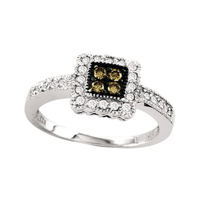 14k 0.30cttw Brown and White Diamond Ring
