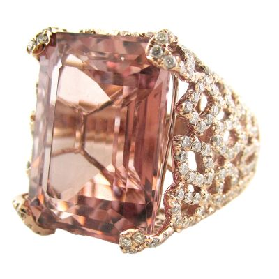 18k Morganite and Diamond Ring