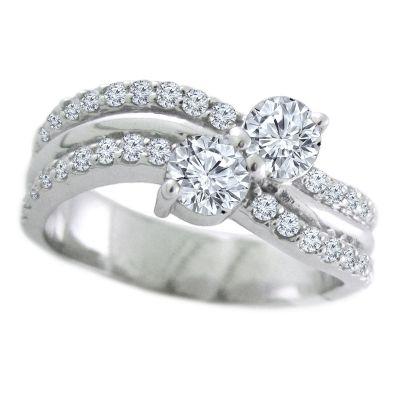 14k 1ctw Diamond Two Stone Ring