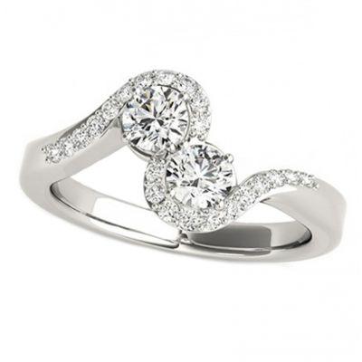 14k .68ctw Diamond Two Stone Ring