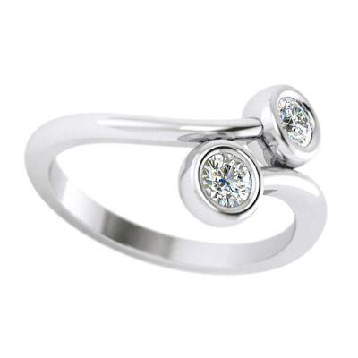 14k .20ctw Diamond Two Stone Ring