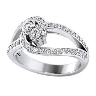 14k .75ctw Diamond Two Stone Ring