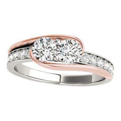 14k .80ctw Diamond Two Stone Ring