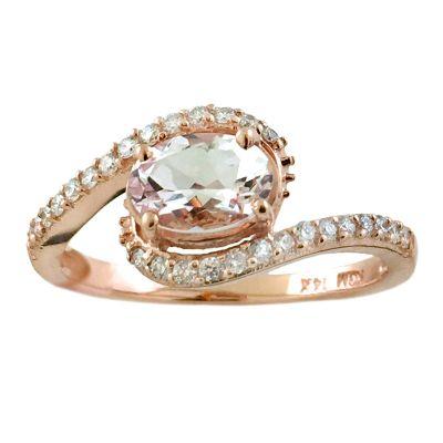 14k Morganite and Diamond Ring