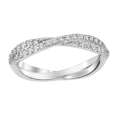 .25ctw Diamond Platinum Twist Wedding Band