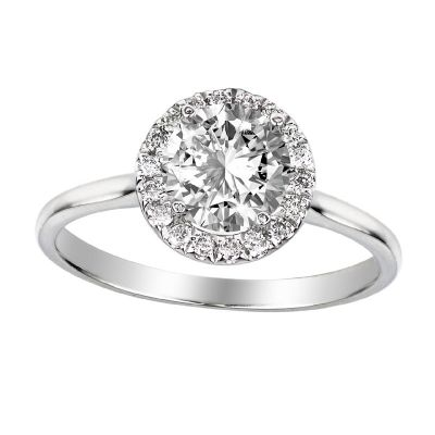 .20ctw Diamond Halo Semi-Mount Platinum Ring
