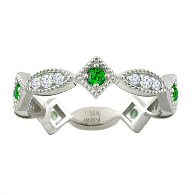 14k Tsavorite and Diamond Stackable Ring