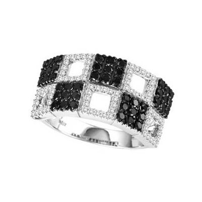 14k Black and White Diamond Trend Ring