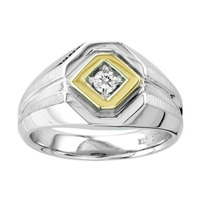 14k & Sterling Silver Diamond Men's Ring