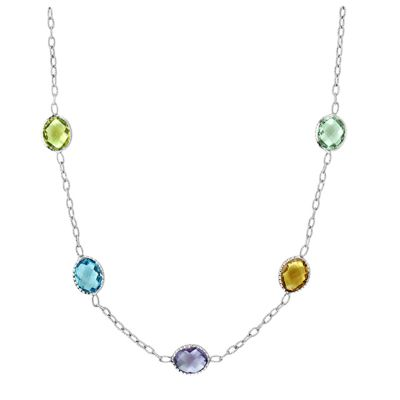 Sterling Silver Multi-Stone Necklace