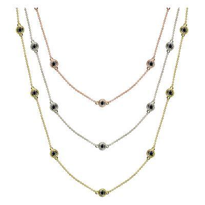 14k .50ctw Fancy Bezel Diamond By The Yard Necklace