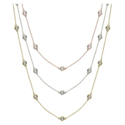 14k .25ctw Fancy Bezel Diamond By The Yard Necklace