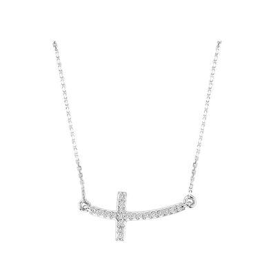 14k Diamond Curved Cross Necklace