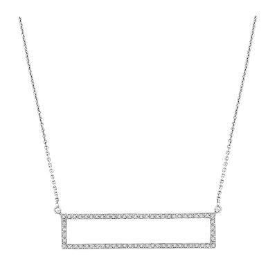 14k Diamond Rectangle Necklace
