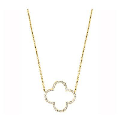 14k Diamond Clover Necklace