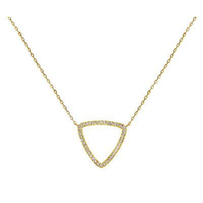 14k Diamond Curved Triangle Necklace