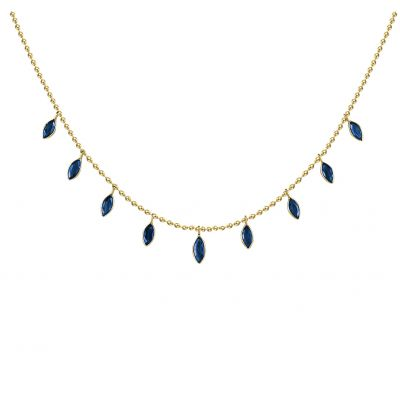 14k 3.80ctw Sapphire Trendy Layer Necklace