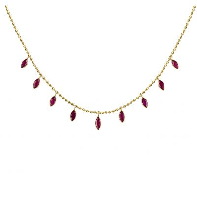 14k 3.80ctw Ruby Trendy Layer Necklace
